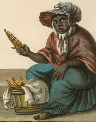 Nicolino Calyo. The Hot Corn Seller. Ca. 1840-1844. Print Archives. The Museum of the City of New York.