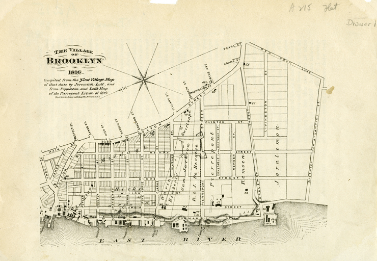 The Village of Brooklyn in 1816. Jeremiah Lott. 1816. B P-1816 (1816--?).Fl. Brooklyn Historical Society.