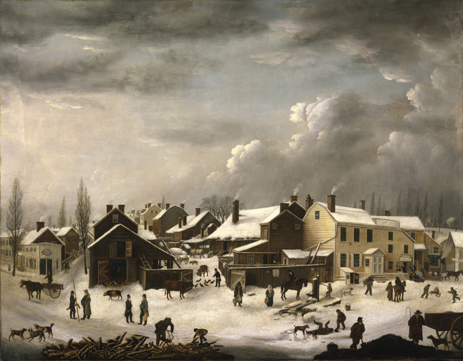 Francis Guy. Winter Scene in Brooklyn, ca. 1819-1820. Oil on canvas, 58 3/8 x 74 9/16 in Brooklyn Museum, transferred from the Brooklyn Institute of Arts and Sciences to the Brooklyn Museum, 97.13.