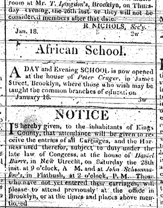 [Advertisement for African School]. The Long Island Star. January 18, 1815. Brooklyn Historical Society.