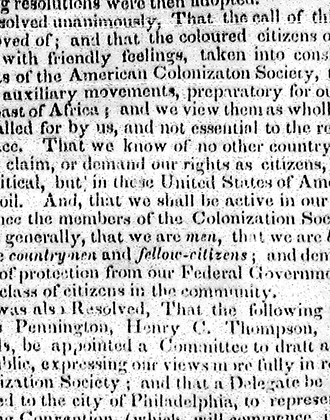 [Notice of anti-colonization protest in Brooklyn]. The Long Island Star. June 3, 1831. Brooklyn Historical Society.