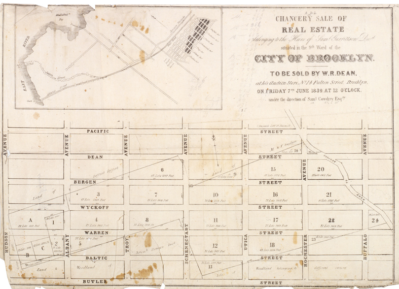Chancery Sale of Real Estate Belonging to the Heirs of Samuel Garrittsen, decd., situated in the 9th Ward of the city of Brooklyn. George Hayward. 1839. B P-[1839].Fl. Brooklyn Historical Society.