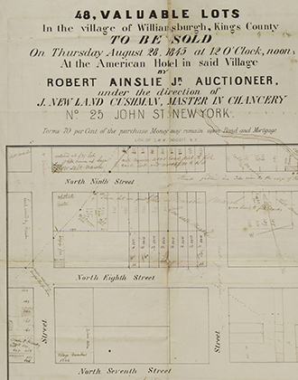 48 valuable lots in the village of Williamsburgh, Kings County. 1845. B P-[1845].Fl. Brooklyn Historical Society.