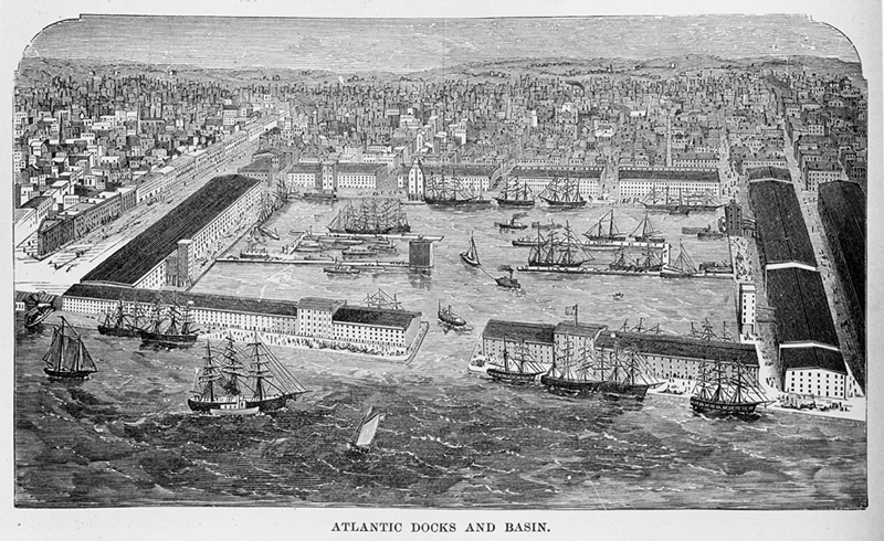 Atlantic Docks and Basin. ca. 1870. Brooklyn photograph and illustration collection. V1973.5.856. Brooklyn Historical Society.