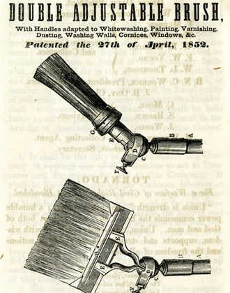 [Diagram of Freeman Murrow's patented double adjustable paint brush]. Brooklyn Brush Manufacturing Company articles of incorporation. 1978.191. Brooklyn Historical Society.