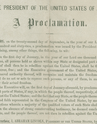 Emancipation Proclamation, Leland-Boker Authorized Edition, 1864. M1986.257. Brooklyn Historical Society.