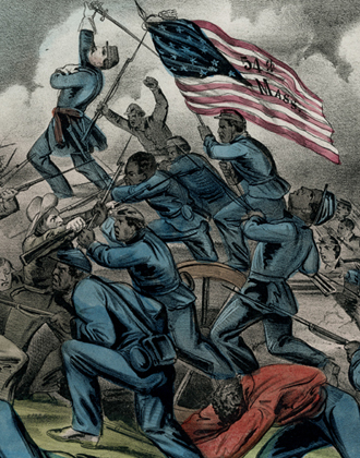 The Gallant Charge of the 54th Massachusetts (Colored) Regiment on the Rebel Works at Fort Wagner. Collection of The New-York Historical Society.