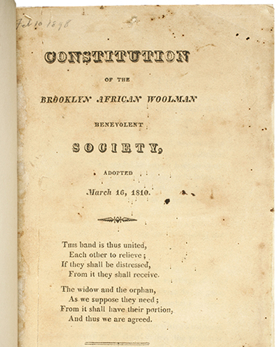 [Cover of Constitution of the Brooklyn African Woolman Benevolent Society] adopted March 16, 1810, published in 1820 by E. Worthington. Negative #85470d. Collection of The New-York Historical Society.