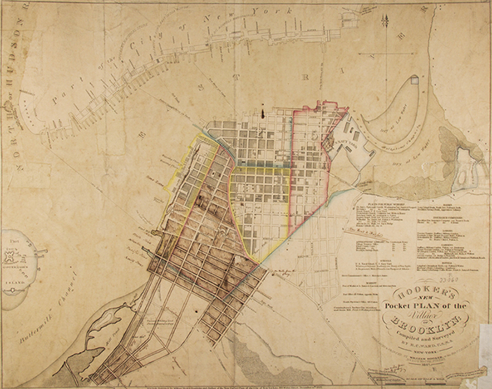 Hooker's new pocket plan of the village of Brooklyn. 1827. B A-1827.Fl. Brooklyn Historical Society.