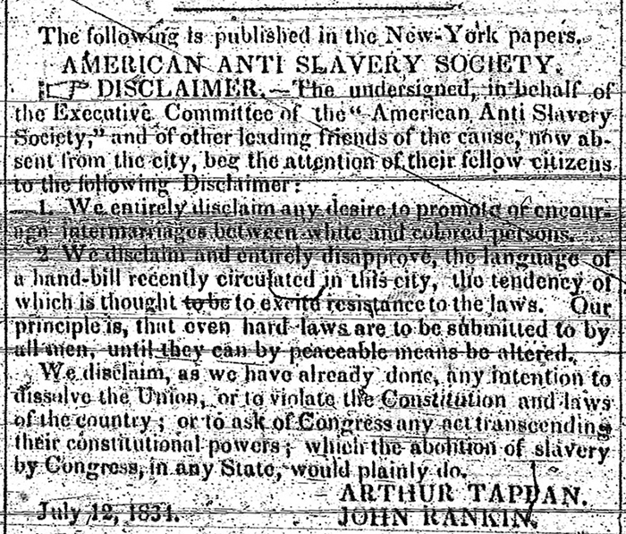 [Abolition disclaimer]. The Long Island Star. July 14, 1834. Brooklyn Historical Society.